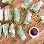 Chicken Rice Paper Rolls with Chilli-Lime Dipping Sauce