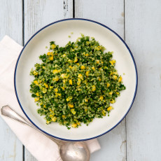 A bowl of perfect - Kale, Corn & Quinoa salad