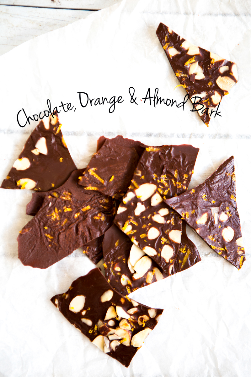 Raw Chocolate, Orange & Almond Bark