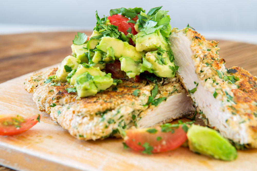 Chicken Schnitzel with Chunky Avocado Salsa | Nadia Felsch