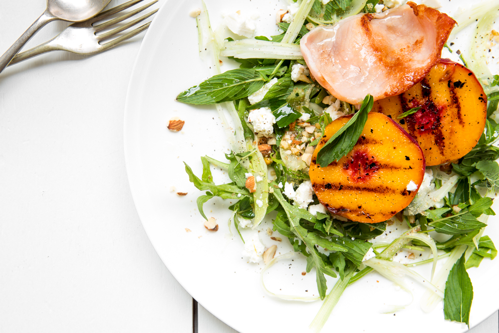 Grilled Peach & Bacon Salad