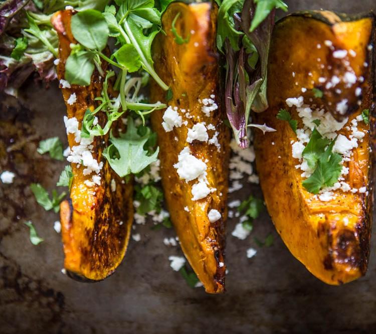 Roast Pumpkin with Fetta & Leaves