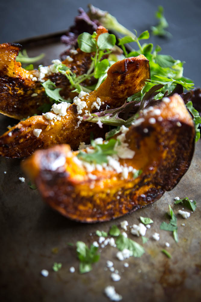 Roast Pumpkin with Fetta & Leaves