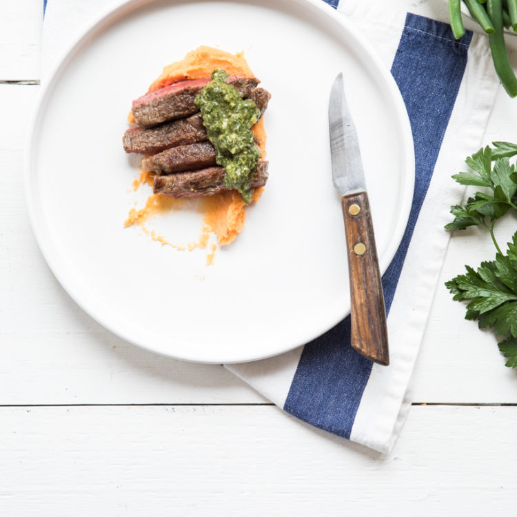 Steak with Salsa Verde & Sweet Potato, White Bean Mash | Nadia Felsch