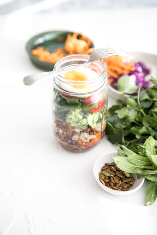 Layered Salad Jar with Honey, Mustard Dressing | Nadia Felsch
