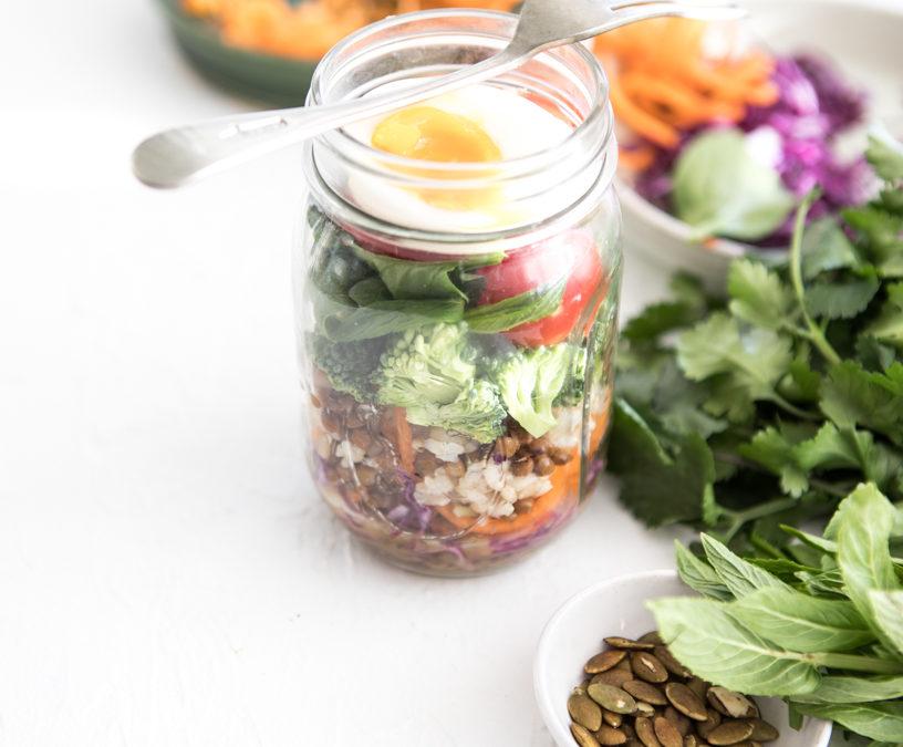 Layered Salad Jar + Honey Mustard Dressing