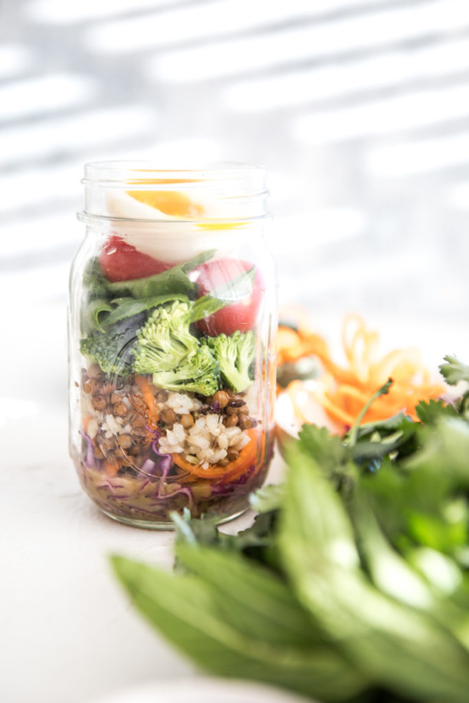 Layered Salad Jar with Honey, Mustard Dressing