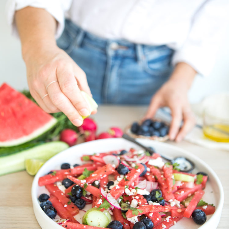 Watermelon, Blueberry, Mint, Radish + Cucumber salad | Nadia Felsch