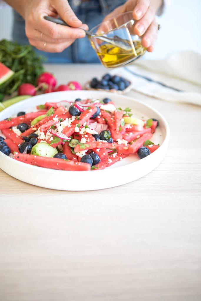 Watermelon, Blueberry, Mint, Radish + Cucumber salad | Nadia Felsch