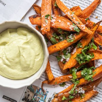 Sweet Potato Fries with Creamy Avo Dipping Sauce